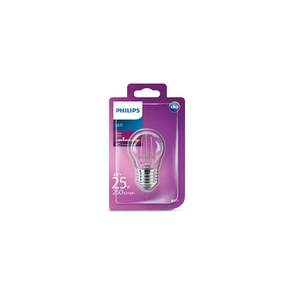 Philips LED Classic 2W / 25W E27 WW P45 CL ND kvapka mini