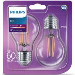 Philip LED classic 6W / 60W E27 WW A60 FR ND 2-set