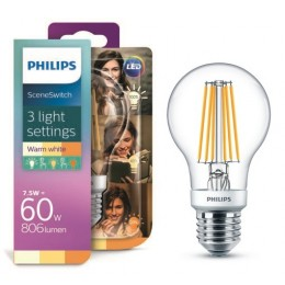 Philips LED Classic Scene Switch 1,6-3-7,5 / 60W E27 WW A60 CL D 3 farby