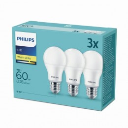 Philips 8718696828199 3x LED žiarovka 1X9W | E27 | 2700K - triple pack