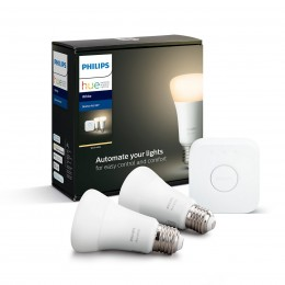 Philips Hue 8718696785218 Starter kit 2x LED žiarovka + Bridge 1X9W | E27 - Bluetooth, White