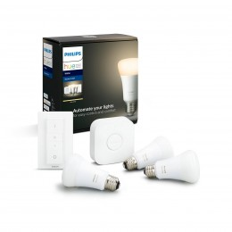 Philips Hue 8718696785232 Starter kit 3x LED žiarovka + ovládač Dimmer Switch + Bridge 1X9W | E27 - Bluetooth, White
