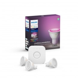 Philips Hue 8718699629274 Starter kit 3x LED žiarovka + Bridge 1x5,7W | GU10 - Bluetooth, White and Color Ambiance