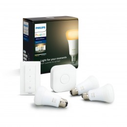Philips Hue 8718699673345 Starter kit 3x LED žiarovka + ovládač Dimmer Switch + Bridge 8,5W | E27 - Bluetooth, White Ambiance