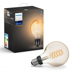 Philips Hue 8718699688882 LED žiarovka Filament Globe 1x7W | E27 | 2100K - Bluetooth, White