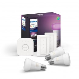 Philips Hue 8718699696917 Starter kit 3x LED žiarovka + 2x ovládač Dimmer Switch + Bridge 9W | E27 - White and Color Ambiance