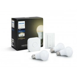 PHILIPS HUE StarterKit žiarovky WH 3-set 9,5W E27 A60 + bridge + switch