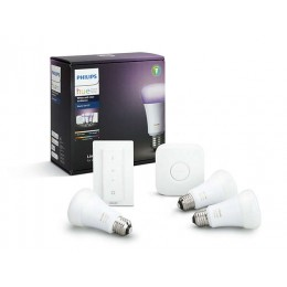 PHILIPS HUE StarterKit žiarovky WH + RGB 3-set E27 10W A19 16 mil.farieb + bridge + switch